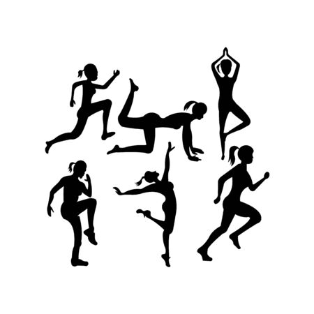 Set of silhouettes of girls doing exercises for body muscles Çizim