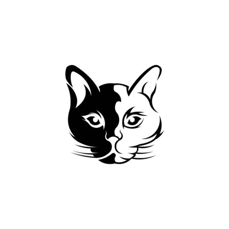 head of a cat  Cute kitten, Black white illustration of a cat  Stylized pet