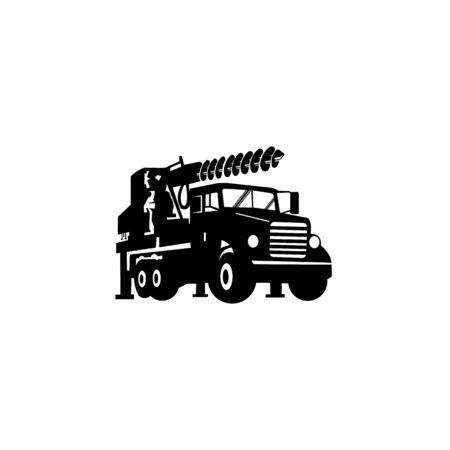 Driller truck  vector design Construction machine symbol illustration