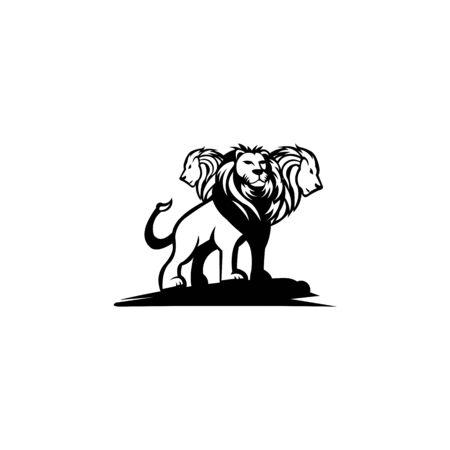Lion Crest three  vector isolated flat on white background Çizim