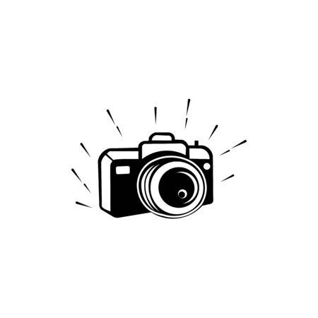 Photo Camera Icon Isolated Black On White Background Camera Icon Vector Flat Modern