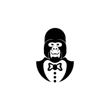 monkey in chef uniform  cartoon animal character cooking vector on a white background