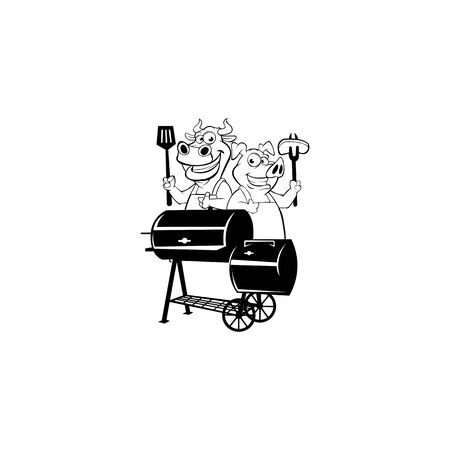 Vector  of Pig cook on a BBQ barrel Fresh meat pig label