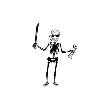 a skull carrying a sword,pirate skull vector design