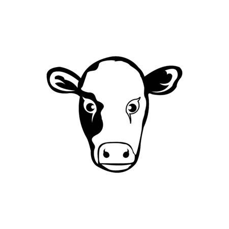 Cow stylized symbol and cow head portrait Silhouette of farm animal Çizim