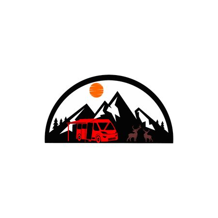 Travel, car, forest, trip, adventure concept  people traveling by car in mountains concept Çizim