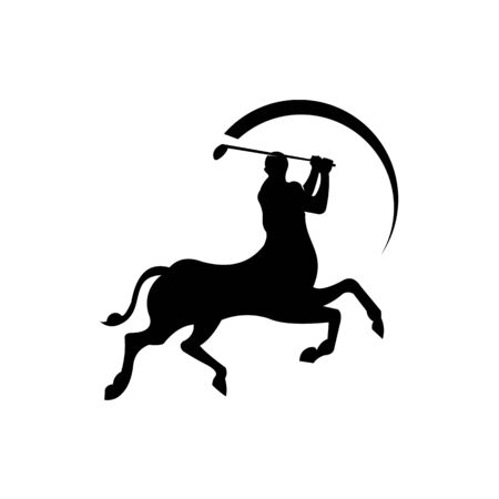 Warrior on horse playing golf back on a white background,human-headed horse playing golf Illustration
