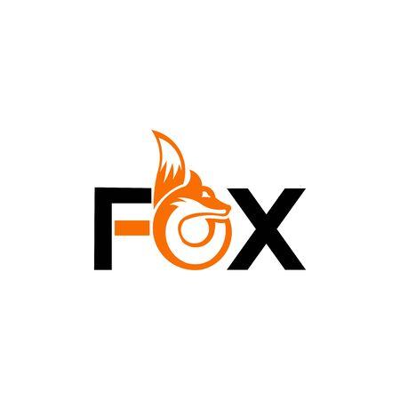 The FOX text and inside the O waving figure fox tail sweetheart, fox wolf logo icon vector Çizim