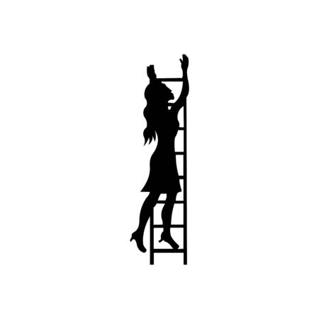 Business woman climbing the ladder, Woman climbing upward on the top of the stairs