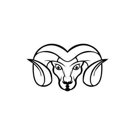 inspiration Linear stylized vector  Goat's head  for logo