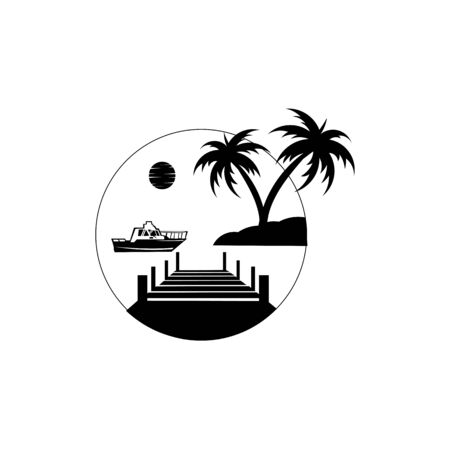 Tropical palm on island with sea and sailboat  Vector logo