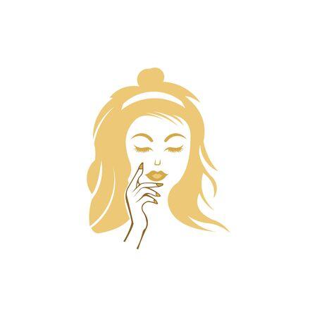 Beautiful women face, hair salon logo vector, woman face with hand on face , fashion concept, woman beauty minimalist Ilustrace