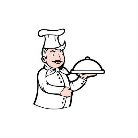 Chef man Testing Food Logo Vector Illustration, Chef Silhouette, Vector object for Labels and Badges, Restaurant Logo, Chef Logo, Hat Symbol