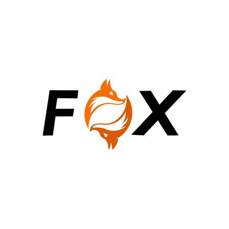 The FOX text and inside the O waving figure fox tail sweetheart, fox wolf logo icon vector Ilustrace