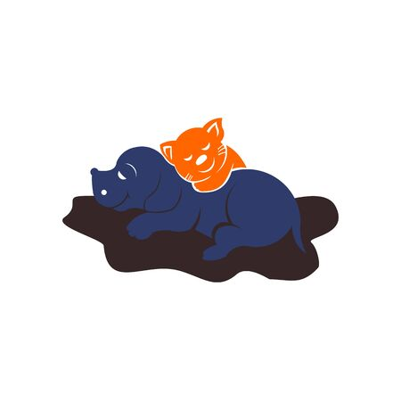 Cozy pet friends concept,Dog and cat together, cute sleeping dog and cat best friends