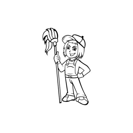 Women In Uniform With Professional Tools For Cleaning And Wash, Multi Purpose Janitorial Cleaning Service, Cleaning Company Workers Ilustrace
