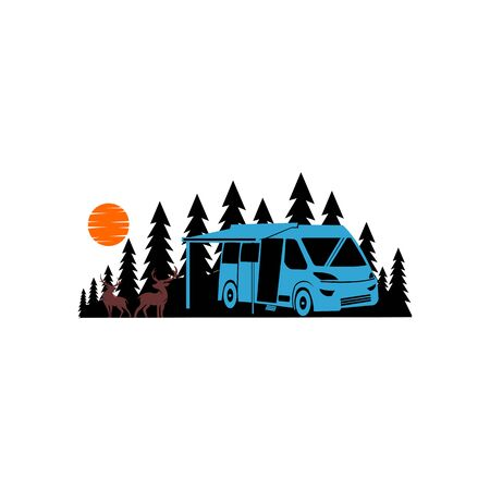 Travel, car, forest, trip, adventure concept  people traveling by car in mountains concept Vectores