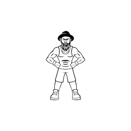 Vector of fitness gym or bodybuilder logo template, with muscle man character wearing a hat Ilustrace