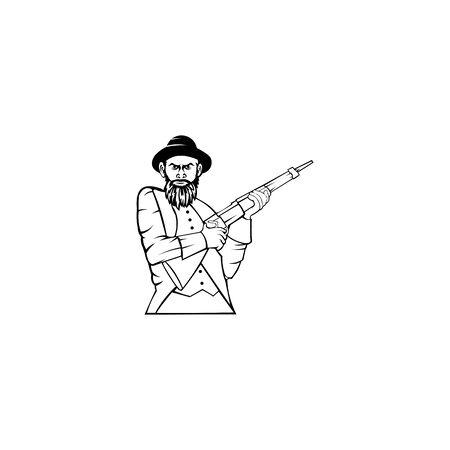 man character wearing a hat Hunter Holding Shotgun  Vector