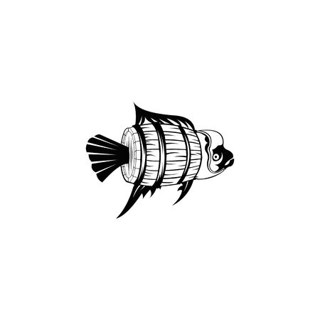 wooden fish filled barrel icon vector, wooden fish filled barrel sign.