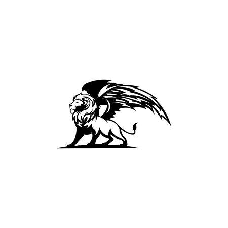 creative lion wing logo vector , Winged Lion ancient emblems elements