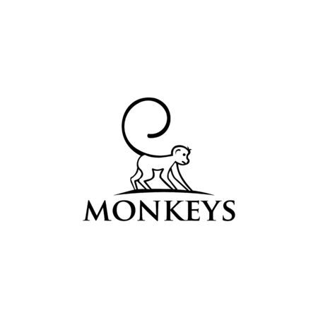 Monkey icon from protected animal, Simple line element Monkey symbol for templates Ilustrace