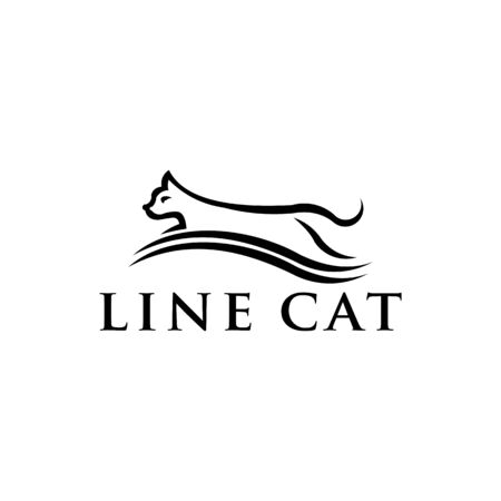 line cat icon from pets animal, Simple line cat element  symbol for templates