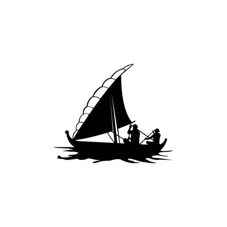 Sailing, cruise, ship, sailing boat   Template vector icon illustration design Ilustrace