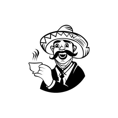 men wear hats Drinking Coffee or Tea, Business men Character Holding Mug of Hot Drink
