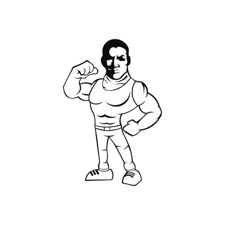 Vector of fitness gym or bodybuilder  template, with muscle man character wearing