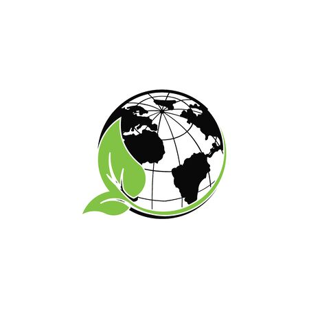 world green leaf isolated on a white background, green World map, Icon of the earth