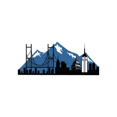 Building mountain  vector , Mountain City ,Construction Design Vector