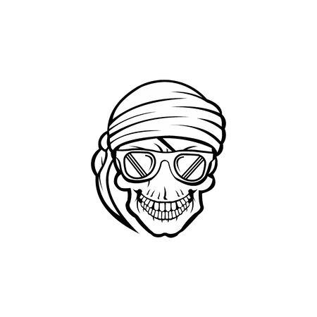 a head skull wearing glasses ,pirate skull vector design