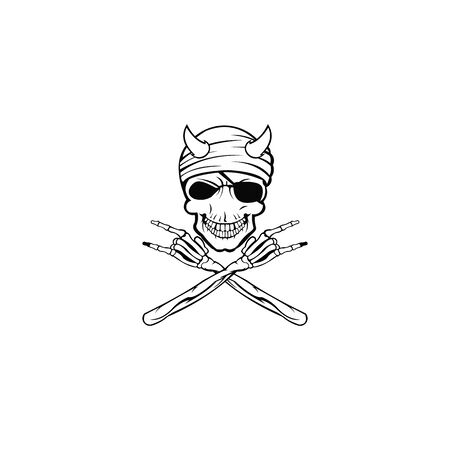 characters the head skull is horn and stylish ,pirate skull vector design Ilustrace