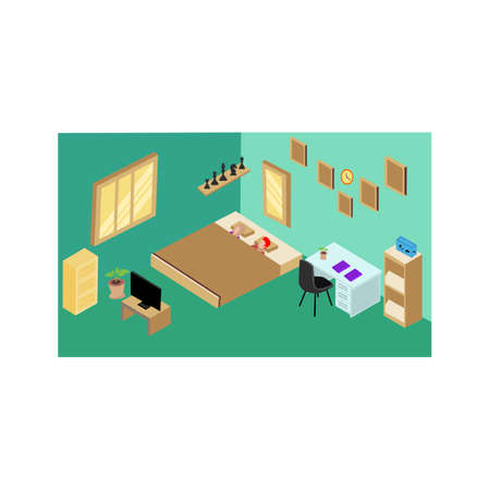 Isometric  view of domestic bedroom interior ,Interior with chairs, desk, bookshelves, Isometric indoor interior
