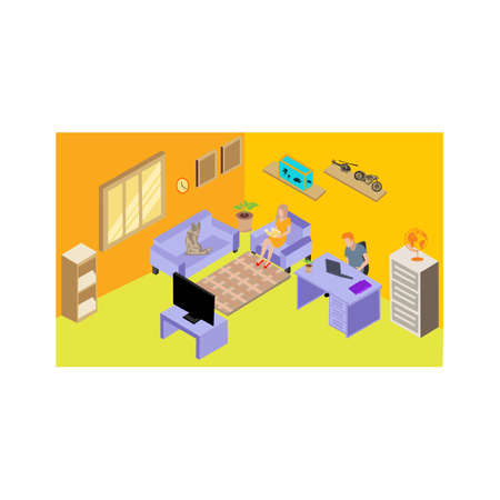 isometric living room interior with family sitting home on sofa ,Remote work from home isometric living room interior
