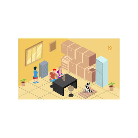 work and using notebook, family at kitchen room with dog, Isometric vector interior the kitchen room Ilustrace