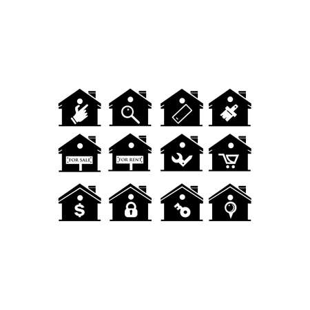 Set of outline Home Icon , Collection Home vector, Home Icon flat, Homepage Vector design house  icon, House logo icon vector
