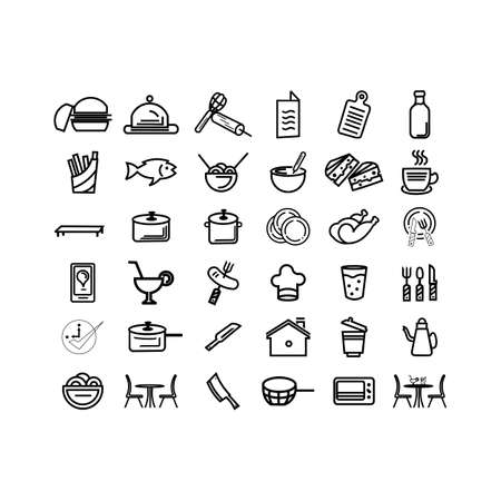 Restaurant and Food Line out Icons set Contains such Icons as Fast Food Vector pack and cooking ware. Ilustrace