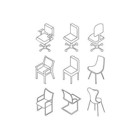 Outline set of chair vector icons for web design Ilustrace