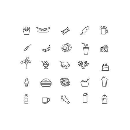 Restaurant food line icons set, outline vector symbol collection logo illustration restaurant