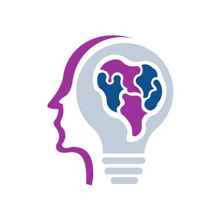 Vector logotype symbol of human head Creative sign design Man brain
