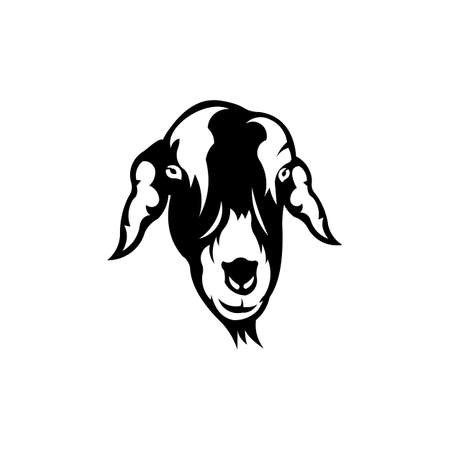 farm logo Goat head animal vector on white background.