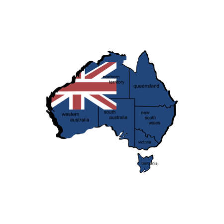 the country's flag inside a map of Australia country
