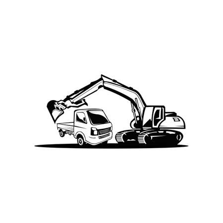 Silhouette of an excavator with an operator in the middle