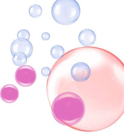palloncini rosa viola su sfondo bianco