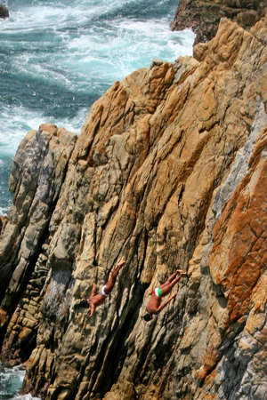 freefall: cliff divers in Acapulco, Mexico Stock Photo