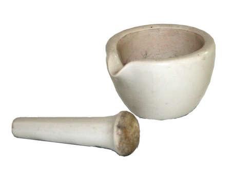 white, ceramic mortar and pestle photo