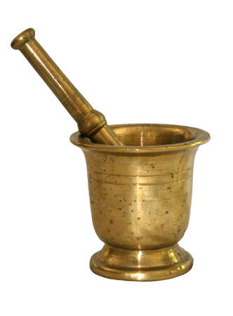 pestle: large brass mortar and pestle