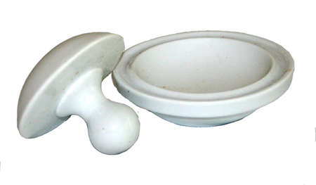 white ceramic mortar and pestle 版權商用圖片